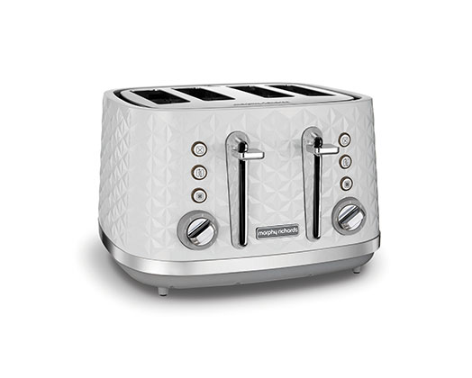 "Morphy Richards Toaster 4 Slice Plastic White 7 Heat Settings 1600W ""Vector"""