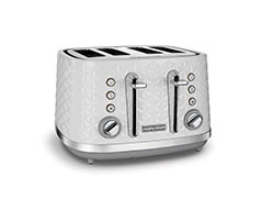 "Morphy Richards Toaster 4 Slice Plastic White 7 Heat Settings 1600W ""Vector"""