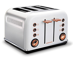 "Morphy Richards Toaster 4 Slice Stainless Steel White 1800W ""Accents Rose Gold"""