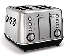 "Morphy Richards Toaster 4 Slice Stainless Steel Brushed 1800W ""Evoke"""
