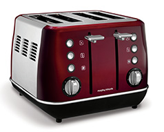 "Morphy Richards Toaster 4 Slice Stainless Steel Red 1800W ""Evoke"""