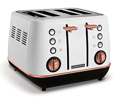 "Morphy Richards Toaster 4 Slice Stainless Steel White 1800W ""Evoke Rose Gold"""