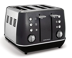 "Morphy Richards Toaster 4 Slice Stainless Steel Black 1800W ""Evoke"""