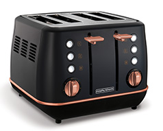 "Morphy Richards Toaster 4 Slice Stainless Steel Black 1800W ""Evoke Rose Gold"""