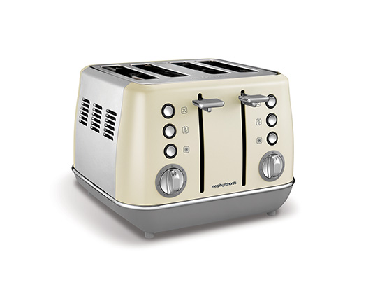 "Morphy Richards Toaster 4 Slice Stainless Steel Cream 1800W ""Evoke"""