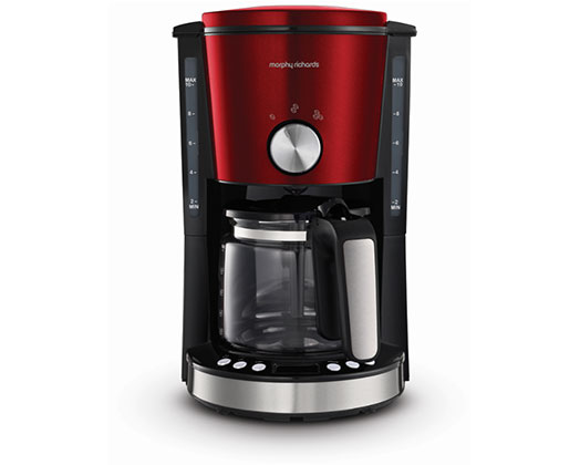 "Morphy Richards Coffee Maker Drip Filter Digital Red 1.2L 1000W ""Evoke"""