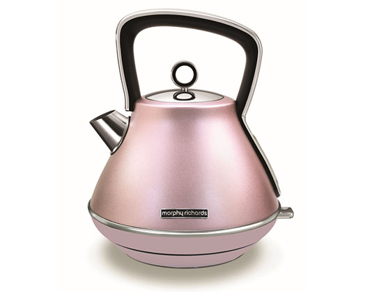 "Morphy Richards Kettle 360 Degree Cordless Stainless Steel Pink 1.5L 2200W ""Evoke"""