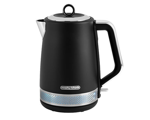 "Morphy Richards Kettle 360 Degree Cordless Stainless Steel Black 1.7L 3000W ""Illumination"""
