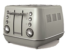 "Morphy Richards Toaster 4 Slice Stainless Steel Platinum 1800W ""Evoke"""