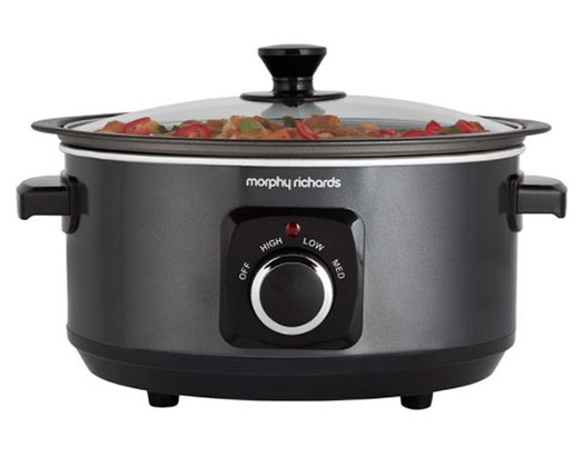 """Morphy Richards Slow Cooker Manual Aluminium Black 3.5L 163W """"Sear and Stew"""""""