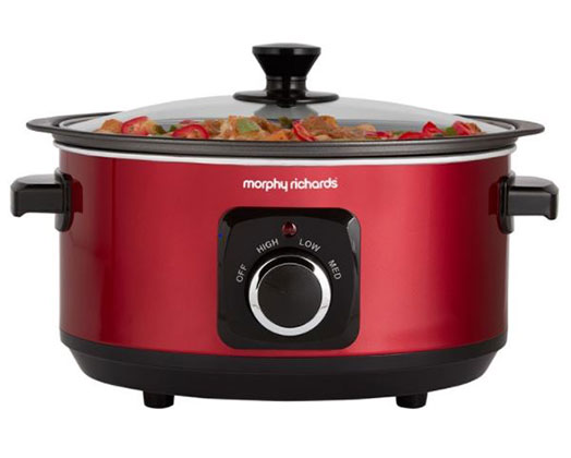 """Morphy Richards Slow Cooker Manual Aluminium Red 3.5L 163W """"Sear and Stew"""""""