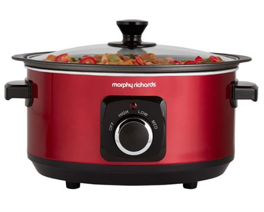 """Morphy Richards Slow Cooker Manual Aluminium Red 6.5L 163W """"Sear and Stew"""""""