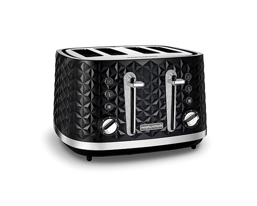 "Morphy Richards Toaster 4 Slice Plastic Black 7 Heat Settings 1600W ""Vector"""