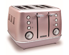 "Morphy Richards Toaster 4 Slice Stainless Steel Pink 1800W ""Evoke"""