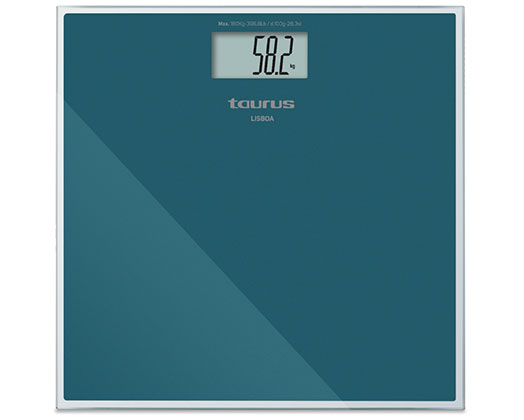 "Taurus Bathroom Scale Battery Operated Glass Teal 180kg 3V ""Lisboa"""