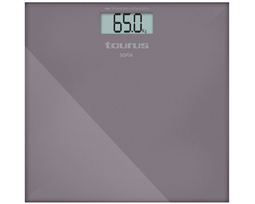 "Taurus Bathroom Scale Battery Operated Glass Purple 180kg 3V ""Sofia"""