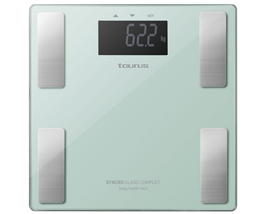 """Taurus Bathroom Scale Battery Operated Glass Teal 180kg 3V """"Syncro Glass Complete"""""""
