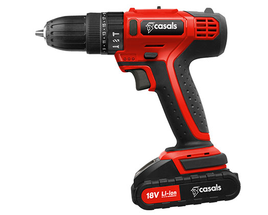 Casals Drill Impact Cordless Plastic Red 13Piece 18V