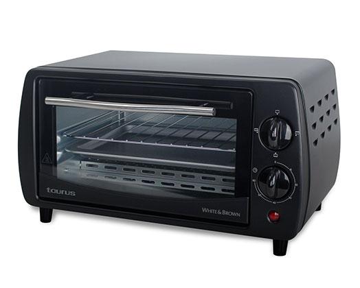 """Taurus Mini Oven With Double Glass Door Adjustable Temperature Steel Black 9L 800W """"Horizon"""""""