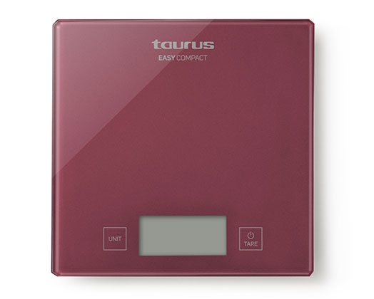 """Taurus Kitchen Scale Digital Battery Operated Glass Red 5kg 3V """"Easy Compact"""""""
