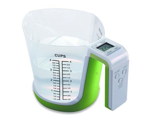 """Taurus Kitchen Scale Digital Plastic Green 1L 3V """"JugStir"""""""