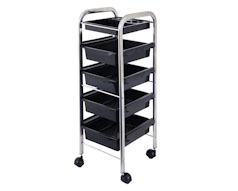 5 Tray Chrome Salon Trolly