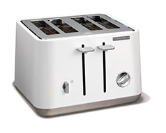 White Stainless Steel Aspect 4 Slice Toaster